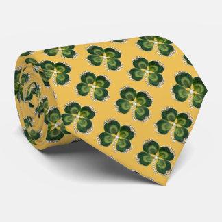 Gold Saint Patrick Shamrock Jewel ,Pearls Yellow Neck Tie