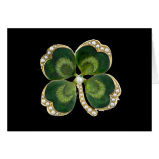 Gold Saint Patrick Shamrock Jewel with Pearls Card