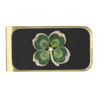 Gold Saint Patrick Shamrock Jewel with Pearls Gold Finish Money Clip