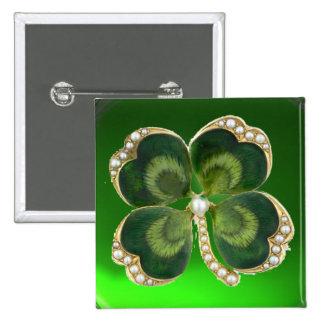 Gold Saint Patrick Shamrock Jewel with Pearls Pinback Button