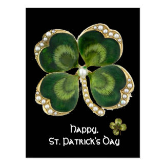 Gold Saint Patrick Shamrock Jewel with Pearls Postcard