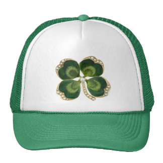 Gold Saint Patrick Shamrock Jewel with Pearls Trucker Hat