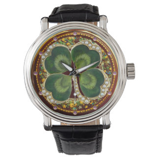 Gold Saint Patrick Shamrock Jewel with Pearls Watch