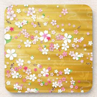 Gold Sakura Kimono Coasters