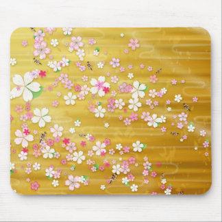 Gold Sakura Kimono - Japanese Design Mouse Pads