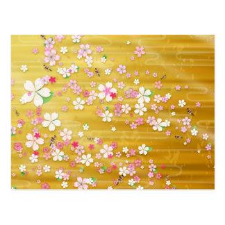 Gold Sakura Kimono - Japanese Design Postcard