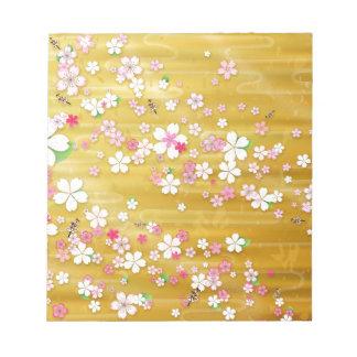 Gold Sakura Kimono Memo Pads