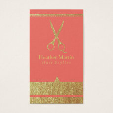 Gold Salon Hair Stylist Appointment Cards Coral