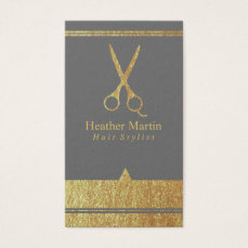 Gold Salon Hair Stylist Appointment Cards in Gray