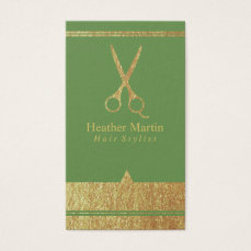 Gold Salon Hair Stylist Appointment Cards in Green
