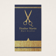 Gold Salon Hair Stylist Appointment Cards Navy