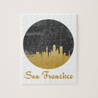 Gold San Francisco City Skyline Map Jigsaw Puzzle