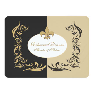 Gold Sand and Black Fleur de Lis Wedding Event Card