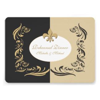 Gold Sand and Black Fleur de Lis Wedding Event Custom Invitation