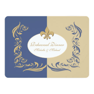 Gold Sand and Ice Blue Fleur de Lis Wedding Event Card