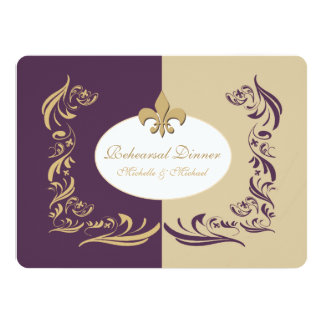 Gold Sand and Purple Fleur de Lis Wedding Event 5.5x7.5 Paper Invitation Card