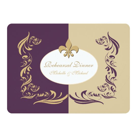 Gold Sand and Purple Fleur de Lis Wedding Event Invitation | Zazzle.com