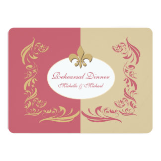Gold Sand Berry Pink Fleur de Lis Wedding Event Card