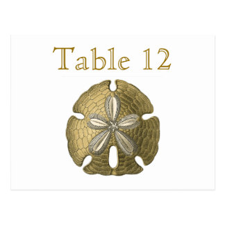 Gold Sand Dollar Reception Table Numbers Postcard