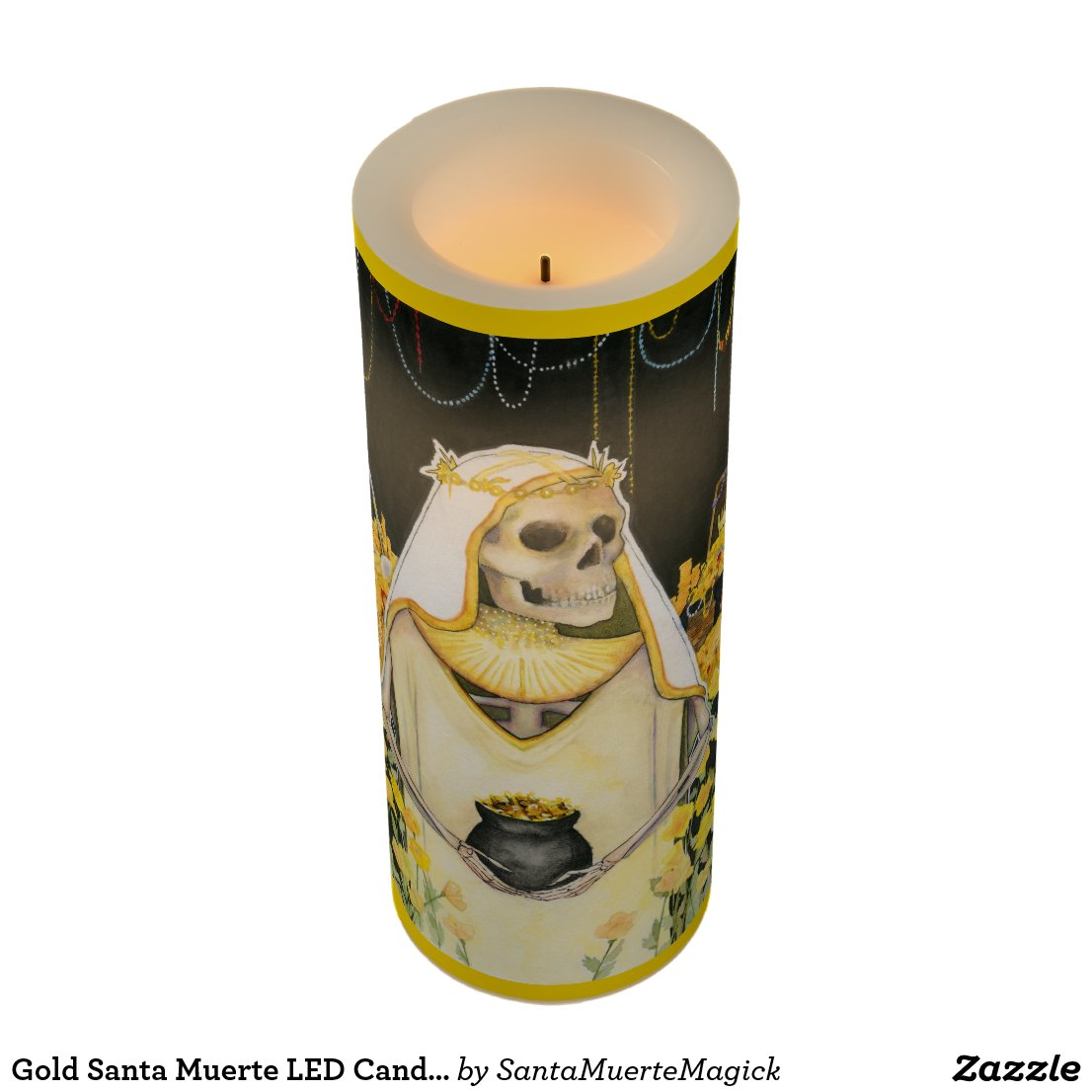 Gold Santa Muerte LED Candle