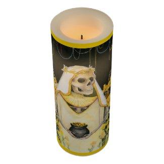 Gold Santa Muerte LED Candle