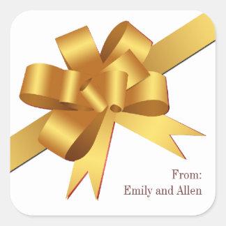 Gold satin gift bow ribbon Christmas holiday Square Sticker