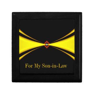 Gold Satin Masculine Design Trinket Boxes