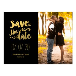 Gold Save Our Date 2 | Save the Date Postcard