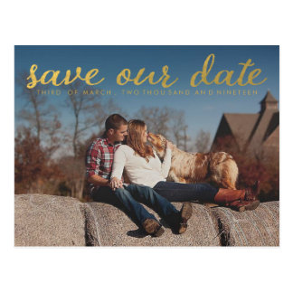 Gold Save Our Date Photo Overlay Postcard