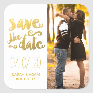 Gold Save Our Date | Photo Save the Date Sticker