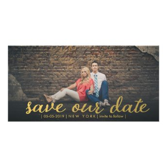 Gold Save Our Date Script Overlay Photo Cards