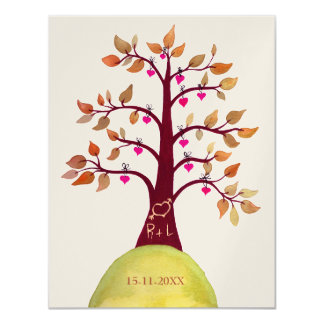 Gold Save the Date Fall Autumn Wedding Tree Invite