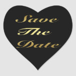 Gold Save The Date Heart Sticker