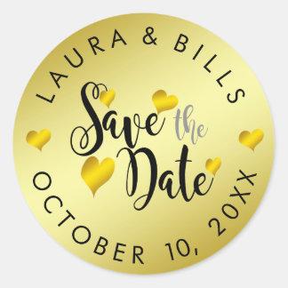 Gold Save the Date Love Glitter Wedding Classic Round Sticker