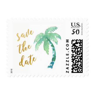 Gold Save the Date Palm Beach Destination Stamp