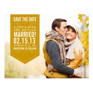 Gold Save The Date Postcards
