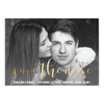 Gold Save The Date Script | Black & White Photo Card