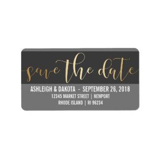 Gold Save The Date Script | Black & White Photo Label