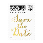 Gold Save the Date Typography Postage Stamp