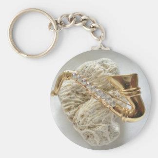 Gold Saxophone Basic Round Button Keychain