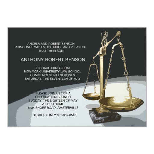 Gold Scale of Justice, Law School Graduation Invit Card