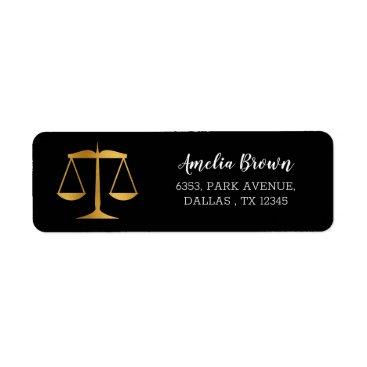 Gold Scales Law Graduate Return Address label