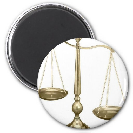 gold scales of justice 2 inch round magnet