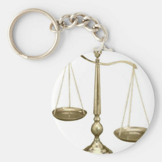 gold scales of justice basic round button keychain