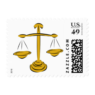 Gold Scales of Justice Law Stamp