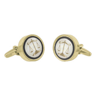 Gold Scales of Justice | Lawyers |White Background Cufflinks