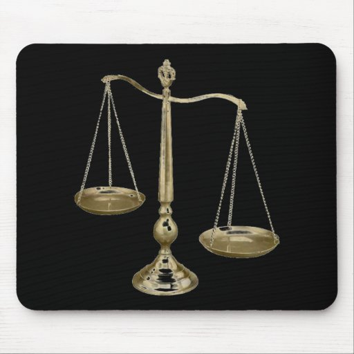 gold scales of justice mouse pads