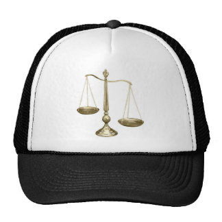 gold scales of justice trucker hat