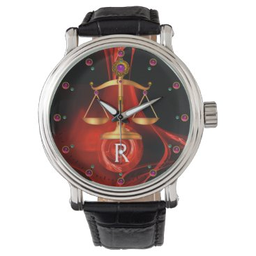 Lawyer Themed GOLD SCALES OF LAW, ATTORNEY,Justice Red Black Watch