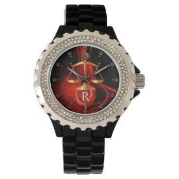 Lawyer Themed GOLD SCALES OF LAW, ATTORNEY,Justice Red Black Wrist Watch